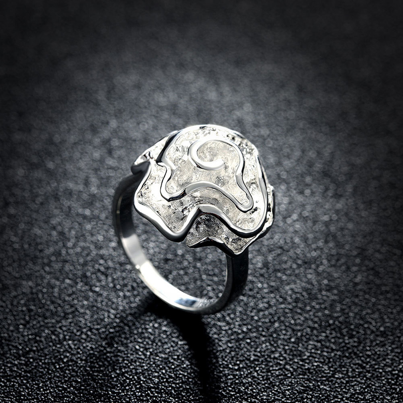 Romantic Silver Plated with Big Rose Flower Rings for Girls
