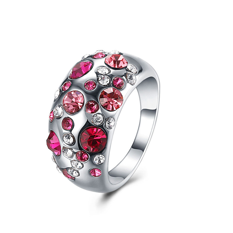 Platinum Plated Multicolors Crystals Rings for Girls