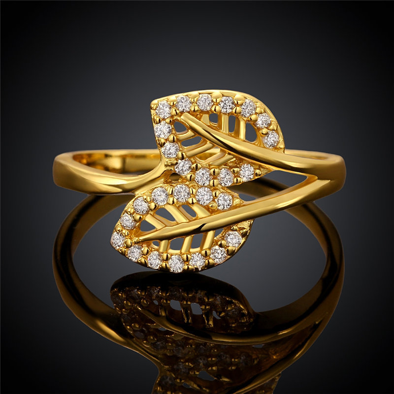 Double-Leaves Shaped Gold Plated Rings for Girls