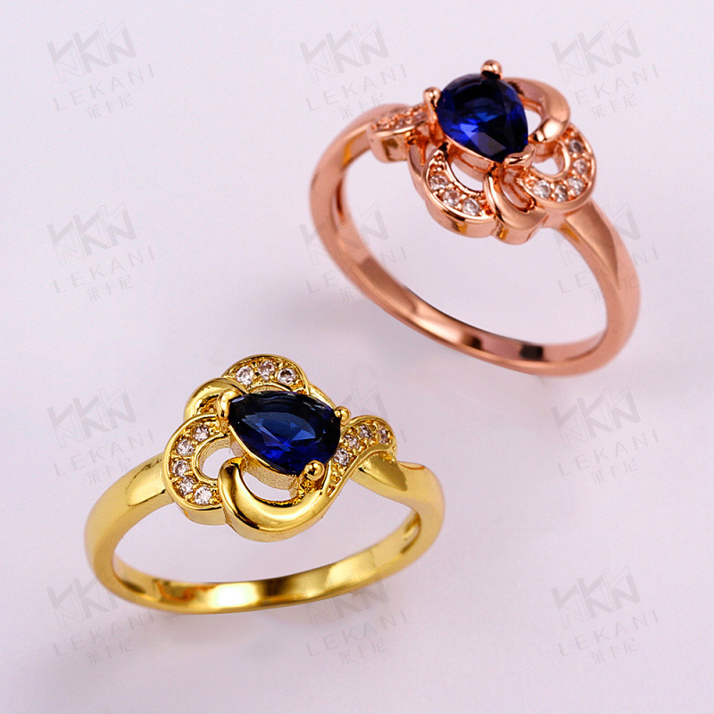 Luxury Blue Water Drop Shaped Gold Plated Rings for Girls