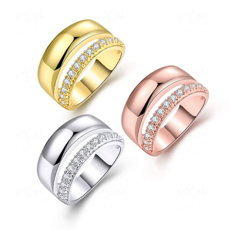 Gold Plated with Cubic Zircon Simple Finger Rings Jewelry for Girls