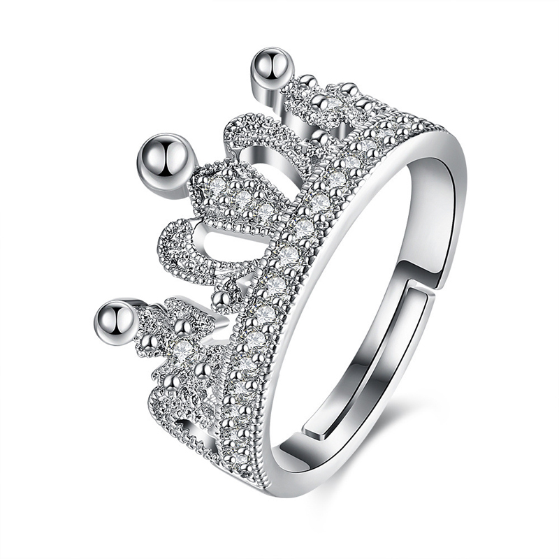 Platinum Plated Fashion Jewelry Zircon Girls Crown Ring
