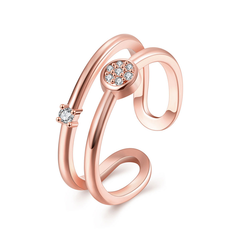 Double Line Half Round Adjustable Ring for Girls