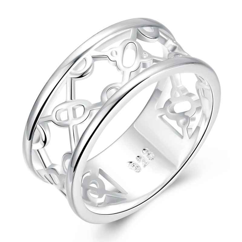 Silver Plated Exquisite Hollow Round Ring for Girls