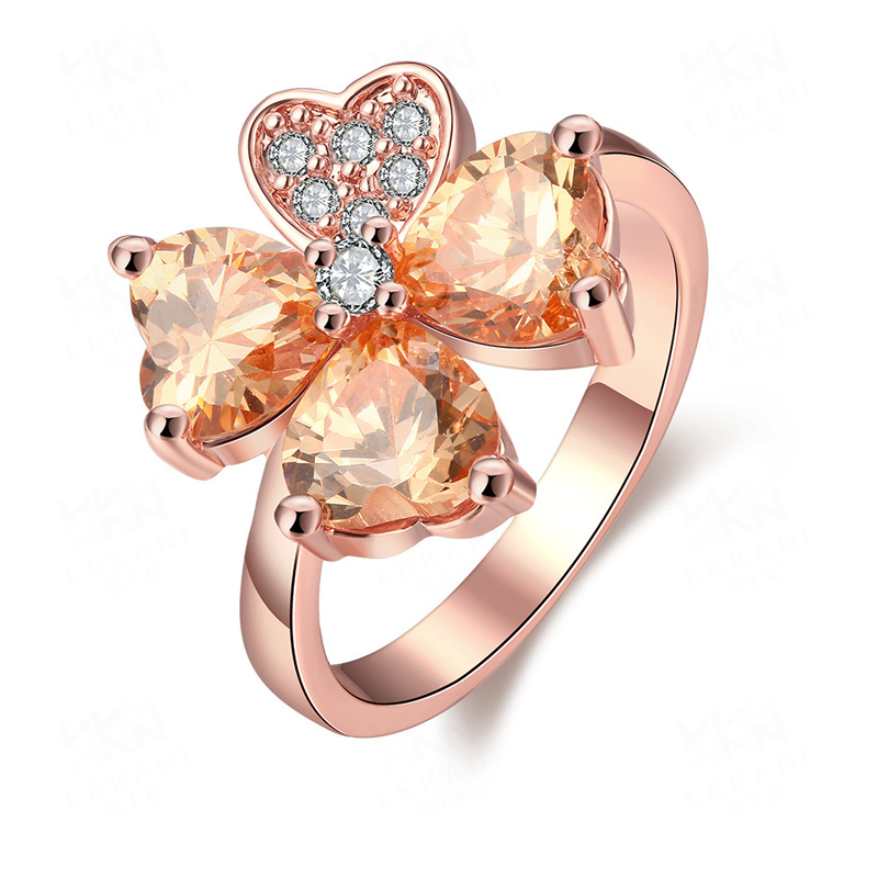 Rose Gold Plated with Colorful Crystals Clover Simple Ring for Girls