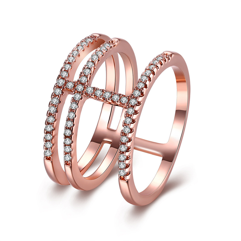Unique Style Zircon Rose Gold Plated Wedding Ring For Girls