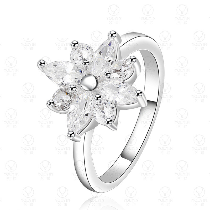 Fashion Flower Modelling Silver Plated Zircon Ring for Girls