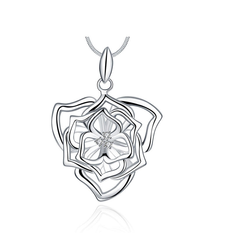 Beautiful Hollow Flowers Silver Plated Girls Necklace Pendant