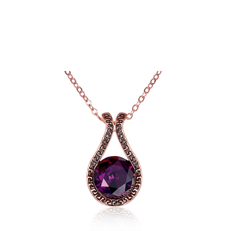 Purple Glass Crystal Necklaces Pendants For Women