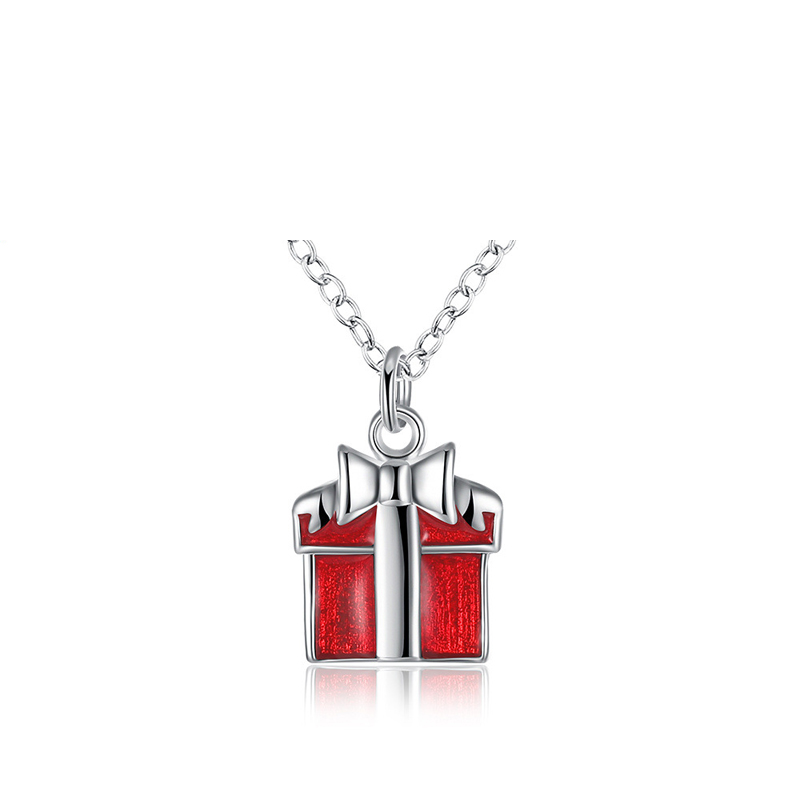Red Gift Box Silver Plated Girls Chain Necklace Pendant