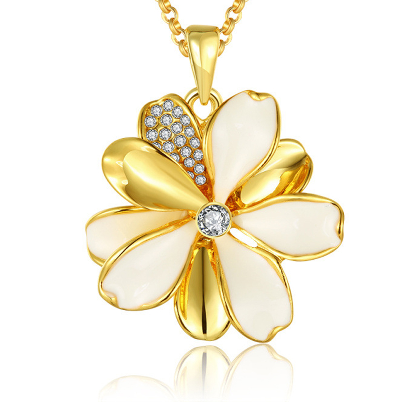 Girls Gold Plated Beautiful Flower Shaped Necklace Pendants