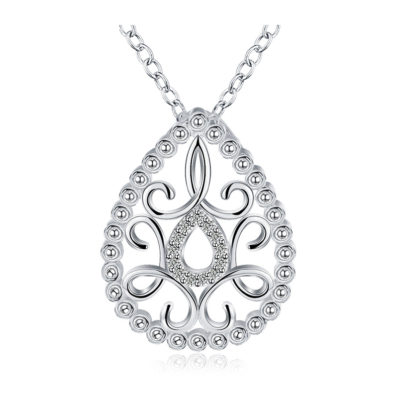 Silver Plated Water Drop Necklace Pendant for Girls