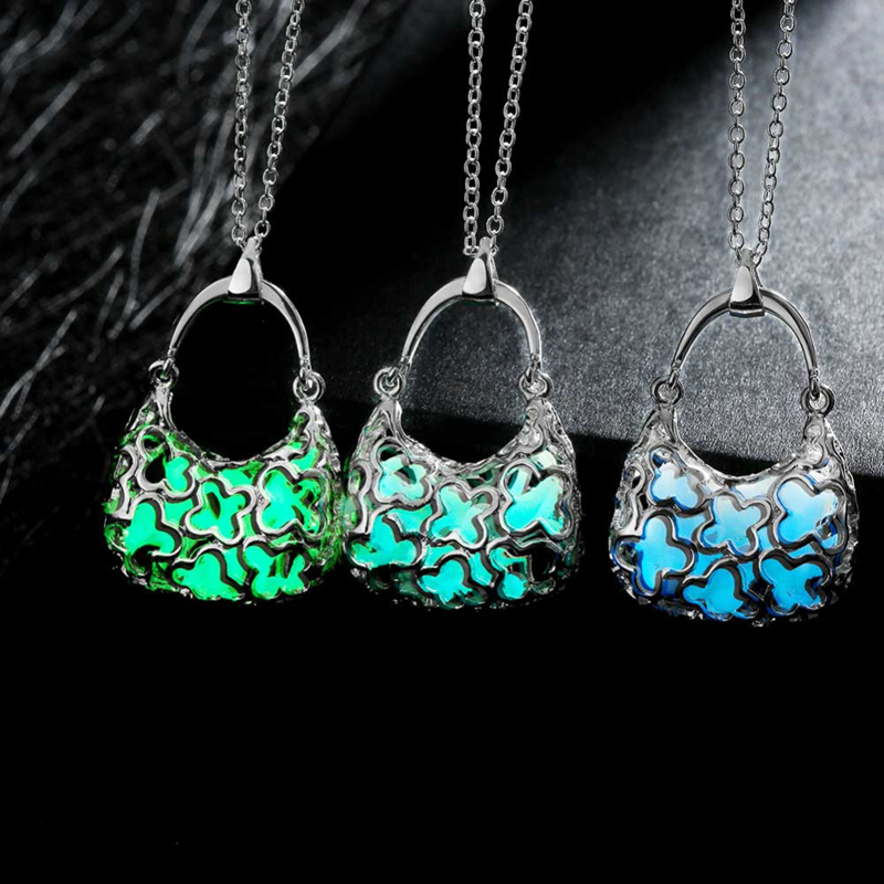 Popular Girls Link Chain Noctilucent Necklace With Handbag Pendant