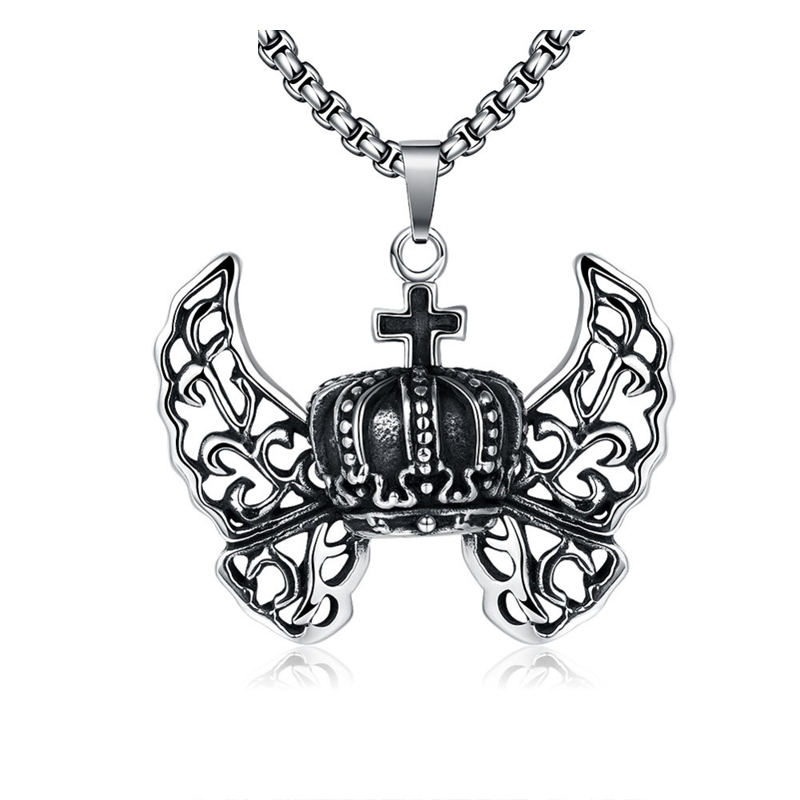 Cool Stainless Steel Angel Wing Cross Pendant for Men