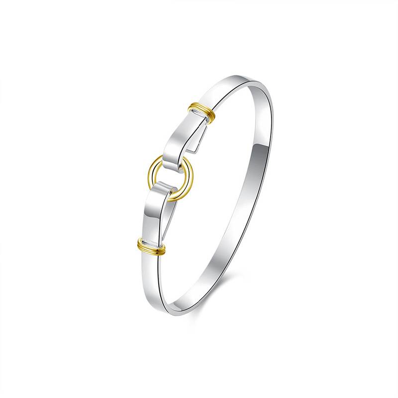 Silver Plated Silvery and Golden O Bracelet for Girls