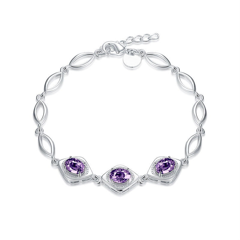 Silver Purple Crystal Charm Pendant Bracelet for Girls