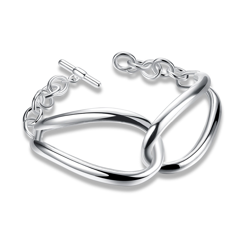Girls 925 Sterling Silver Twisted Round Buckle Strand Bracelets