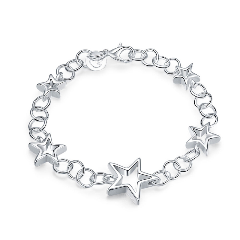 925 Silver Fashion Jewelry Hollow Stars Pendant Girls Bracelet