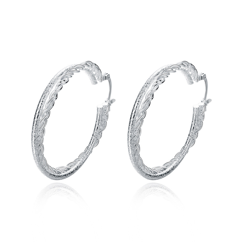 Personalized Double-layer Round Girls Silver Plated Earring