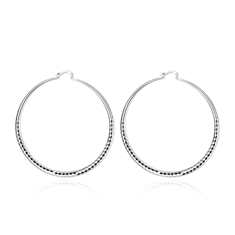 Big Round Shaped Silver Plated Hoop Earrings for Girls