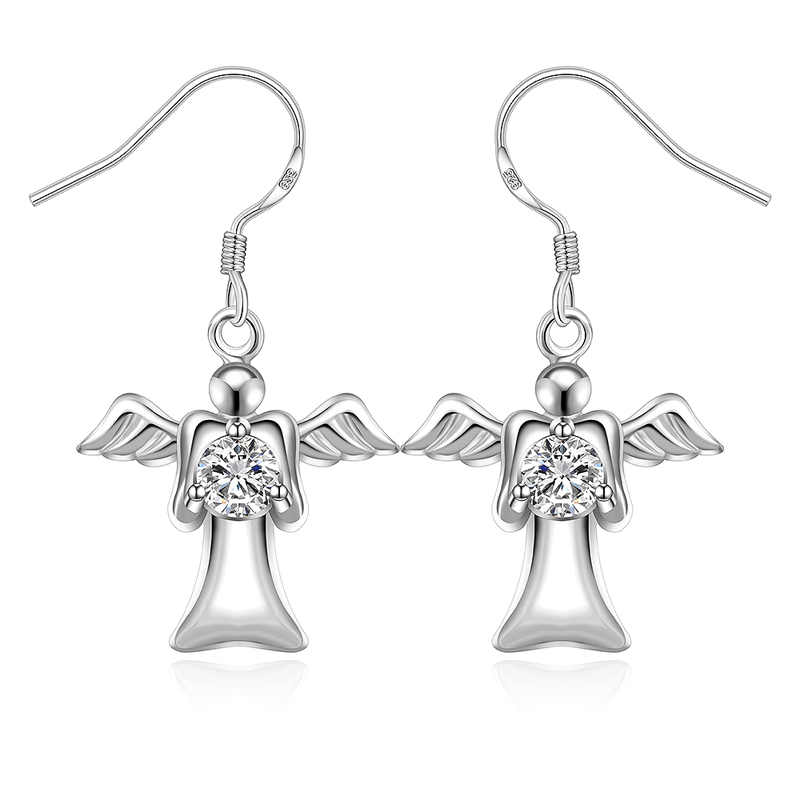 Silver Plated Jewelry Love Angle Girls Dangle Earrings