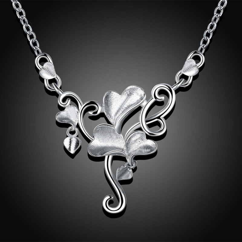 Silver Plated Popular Flower Chain Pendant for Girls