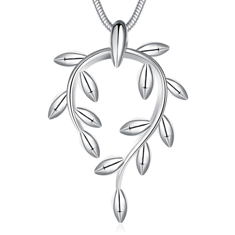 Silver Plated Jewelry Hollowed Leaf Chain Pendant for Girls