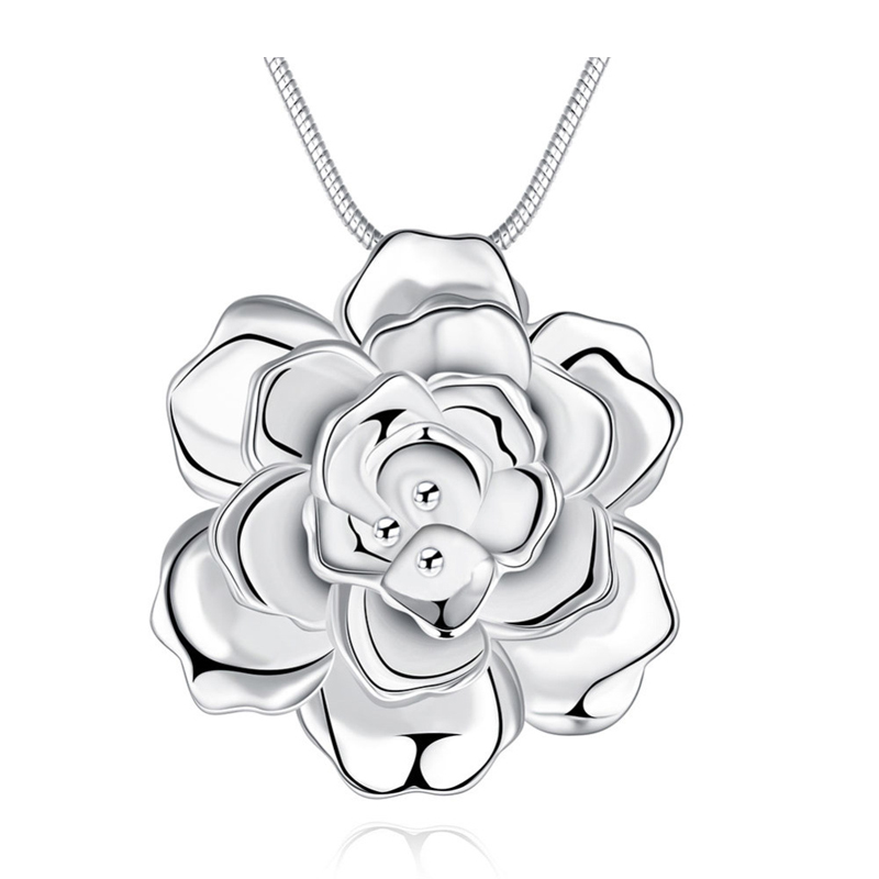 Romantic Rose Girls 925 Sterling Silver Chain Necklace Pendant