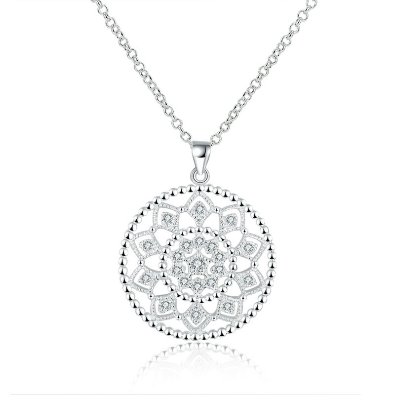 Romantic Flower Silver Chain Necklace Pendant for Girls
