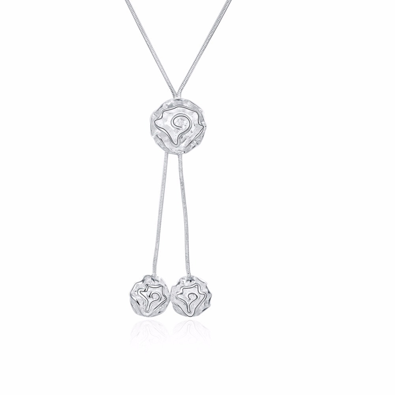 Three Rose Flowers Girls Silver Plated Long Necklace Pendant