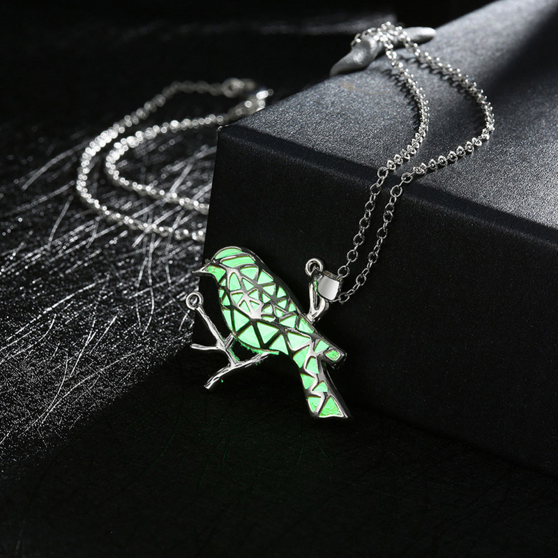 Silver Plated Luminous Night Peace Dove Shaped Girls Pendant