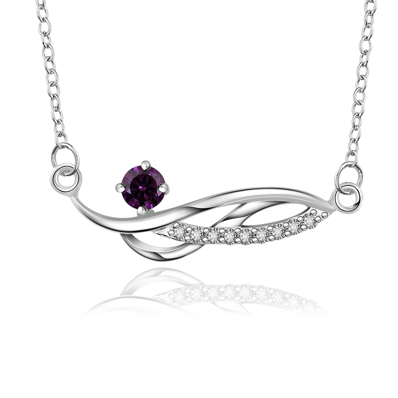 Silver Plated Chain Purple Rhinestone Girls Necklace Pendants