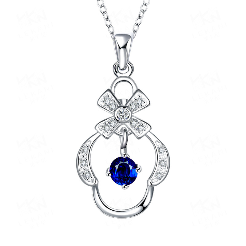 Silver Plated Chain Colorful Zircons Girls Necklace Pendants