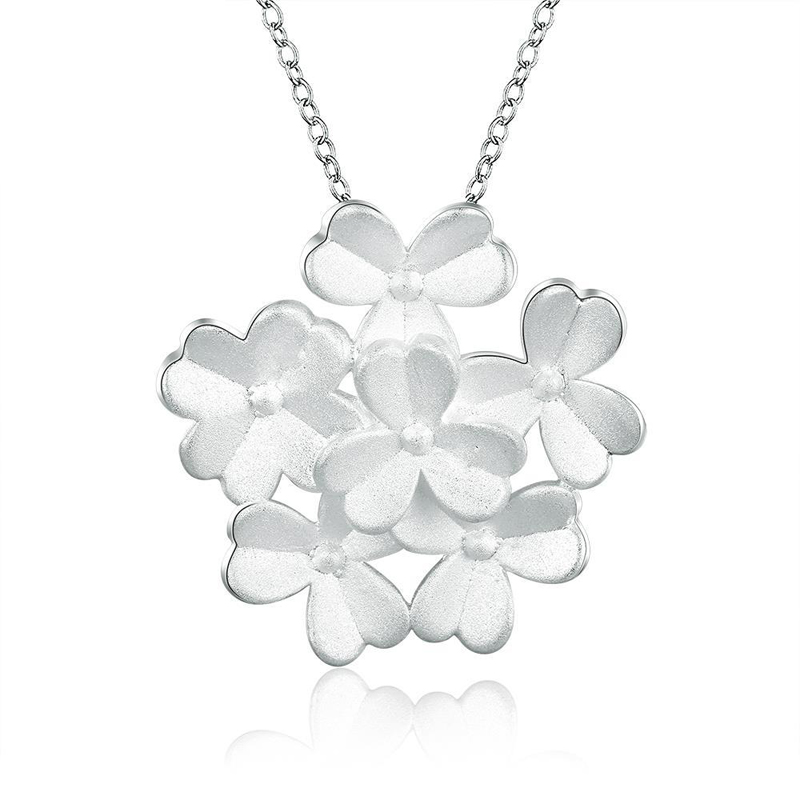 Beautiful Flowers Pendant Necklace 925 Sterling Silver For Girls