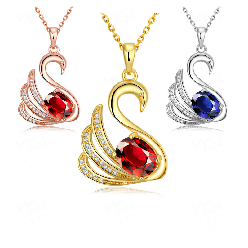 Cute Design Rose/Yellow Gold Plated Swan Pendant Necklaces Jewelry for Women