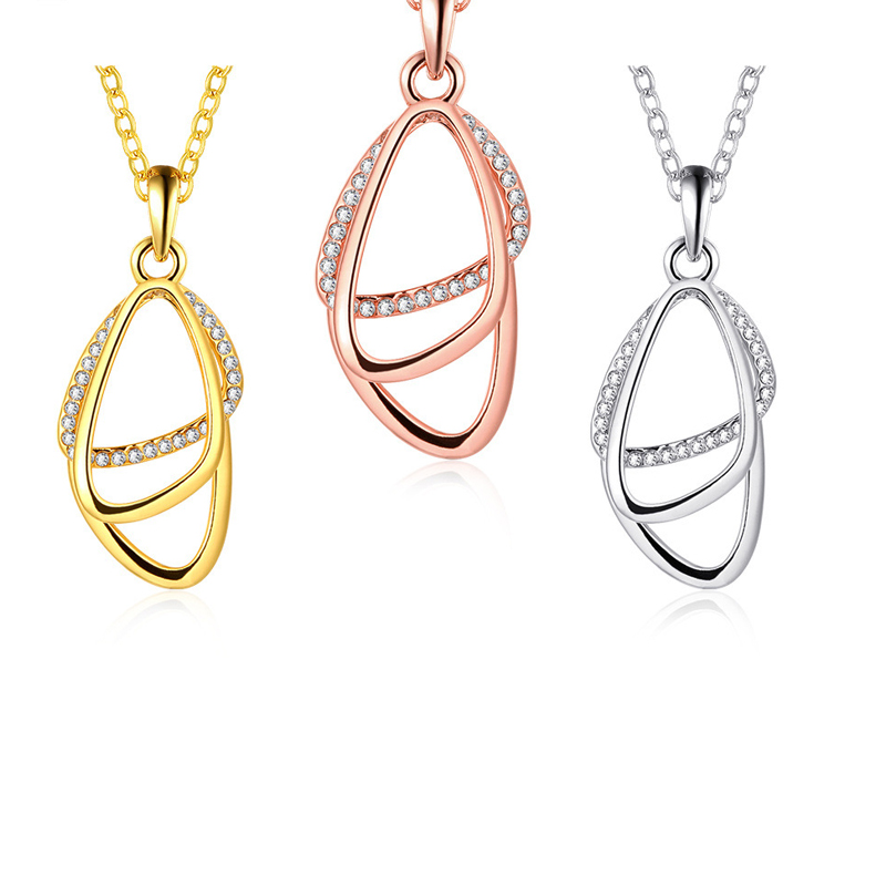 Fashion Wedding Pendants Necklaces Rose Gold Plated Jewelry For Women