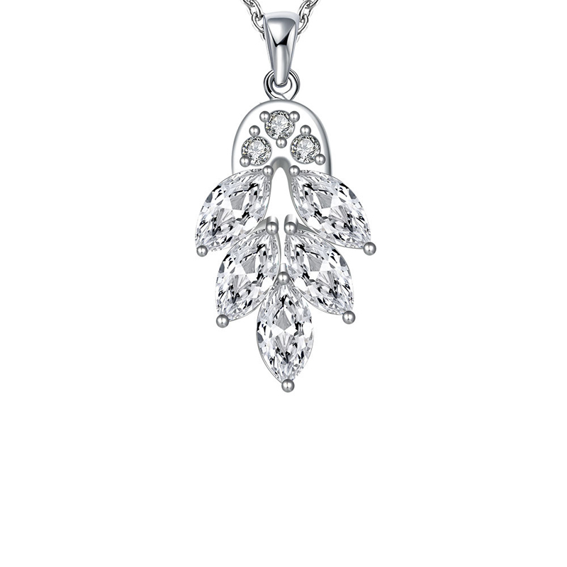 Solid 925 Sterling Silver Leaves Shaped Necklace Pendant for Girls