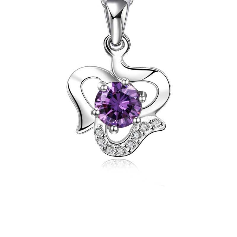 Silver Plated Chain Necklaces Pendant Girls Purple Crystal Jewelry