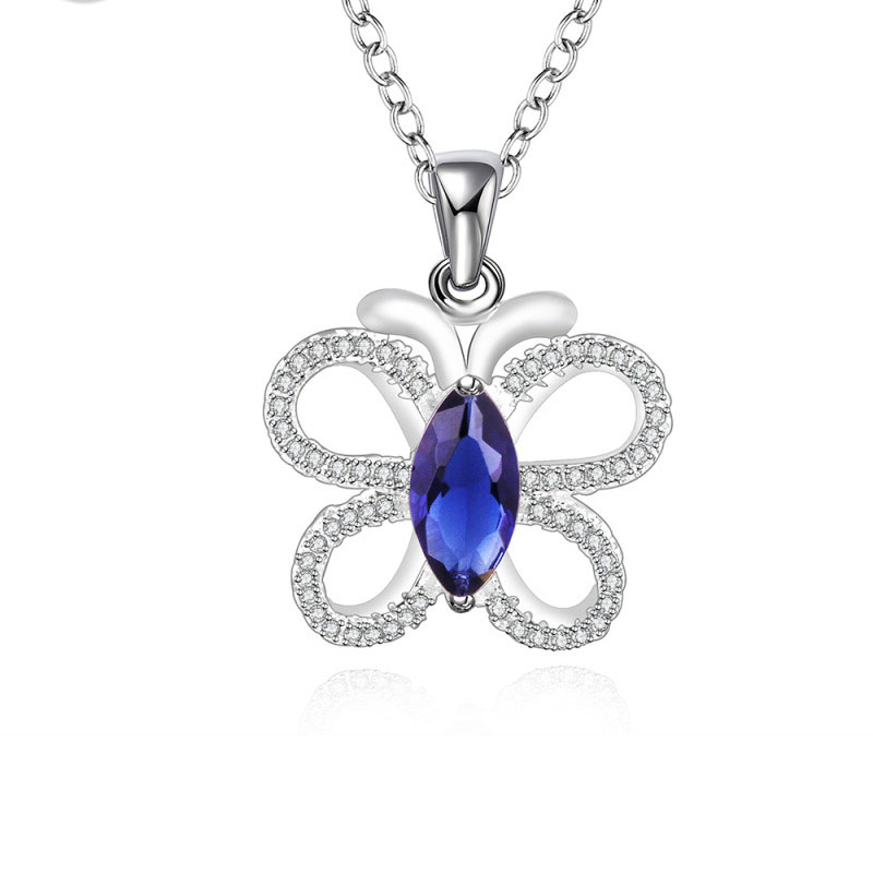 Silver Plated Jewelry Butterfly Style Blue Crystal Pendant Necklaces for Girls