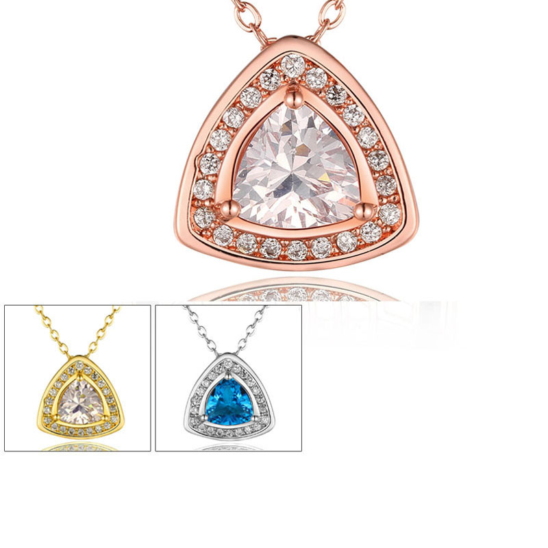 Shiny Crystal Gold Plated Necklaces Pendant for Women Gift