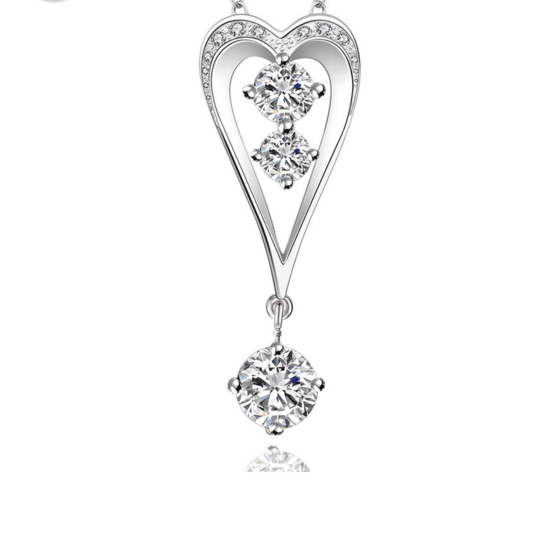 925 Silver Inlaid Stones Fashion Heart Design Necklace Pendant for Women