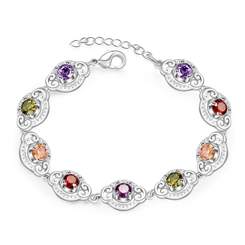 Mix-Colors Zircons Solid 925 Sterling Silver Plated Girl Chain Bracelet