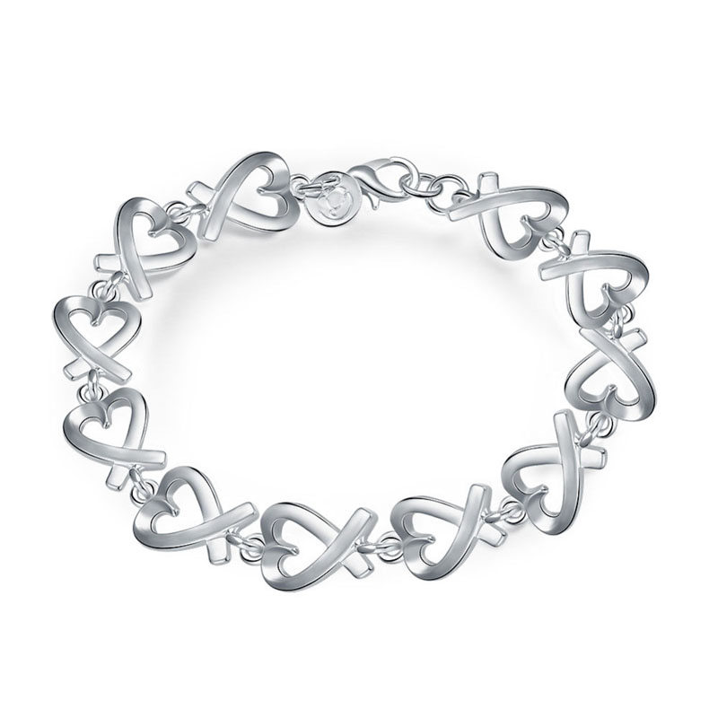 925 Sterling Silver Fashion Jewelry Heart Shaped Bracelets For Girls
