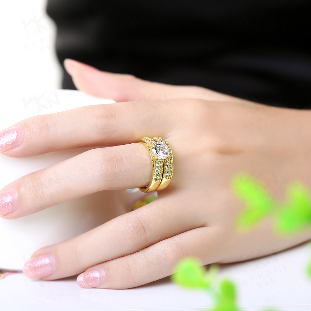 New Trendy Gold/Platinum Plated Wedding Jewelry Rings For Women