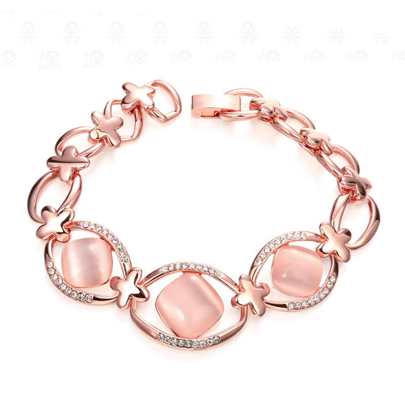 Fashion Opal Rose Gold Bracelet Charm Opal Love Bangles For Women