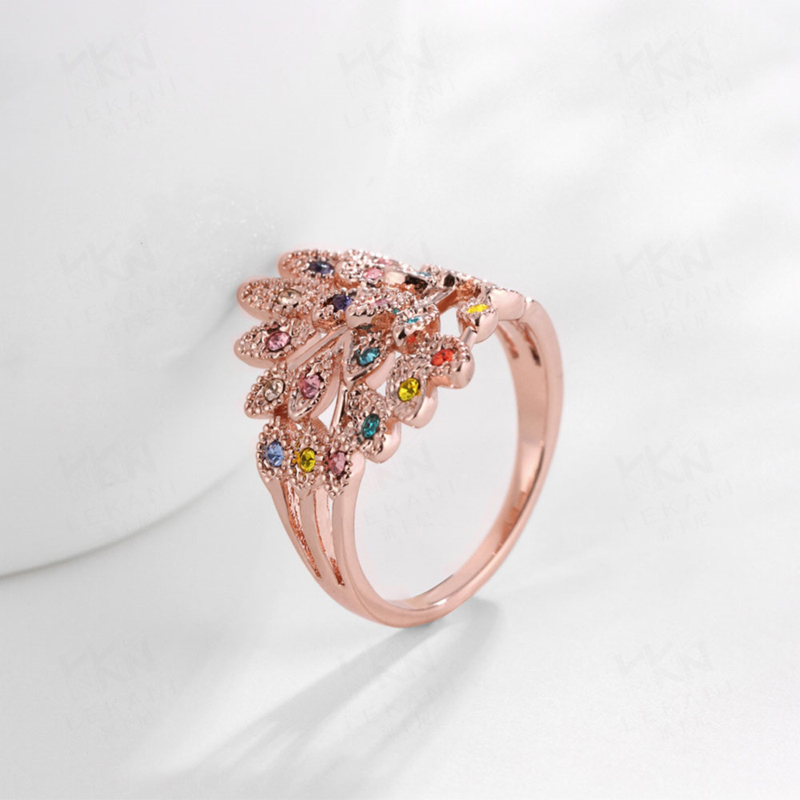 Hot Silver Ring With Colorful Crystal Flower Big Topaz Mystic Anillos Mujer Diamond Jewelry For Women