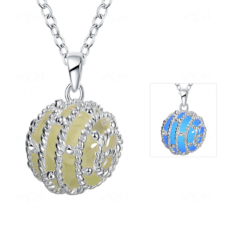 Hot Spherical Luminous Green 925 Sterling Silver Chain Noctilucent Pendant Necklaces For Women