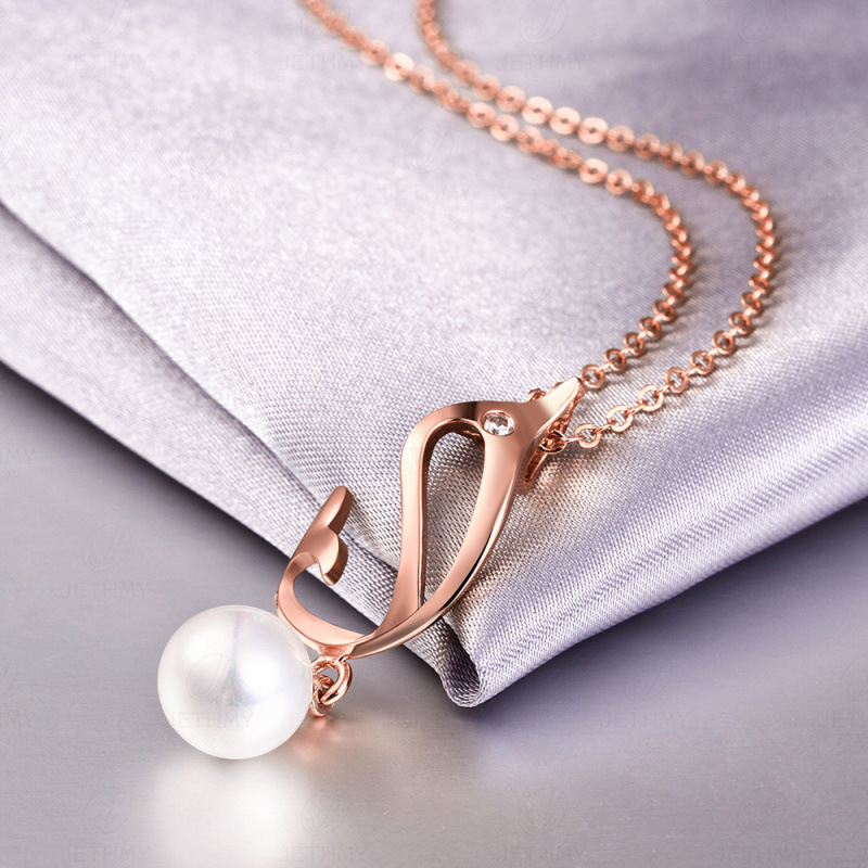 New Fashion Alloy Pendant Necklace Creative Dolphin Pearl Jewelry For Women