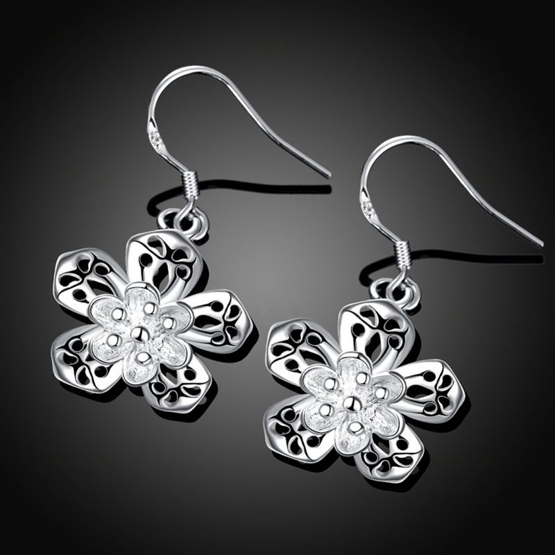 New Fashion 925 Silver Fashion Snowflake Earrings Jewelry For Women E684