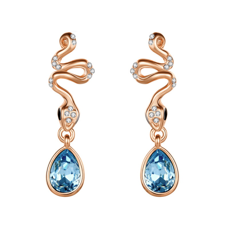 New Fashion Luxury Snake Blue Austrian Crystal WaterDrop Studs Earrings for Women